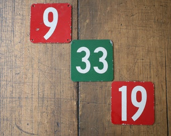 Metal Red Green Reflective Numbers 9 19 33 Nine Nineteen Thirty-Three House Number Altered Art Mixed Media Collage Number Price For ONE