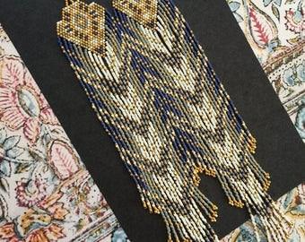 Sundance..24Kt Gold Beaded Fringe Earrings