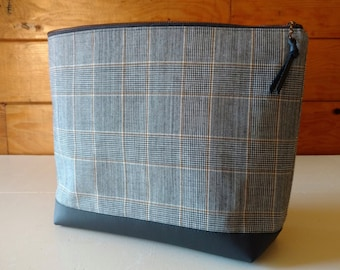 Wool Plaid Zipper Bag with Green Cotton Lining Repurposed Brass Zipper Black Leather Bottom