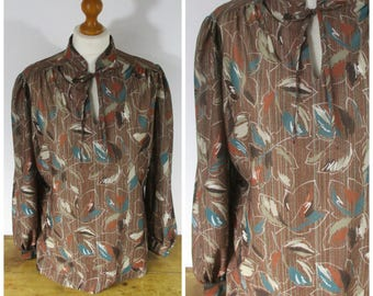 Vintage 1970s 80s Boho Secretary Blouse in Brown Teal and Rust - L XL