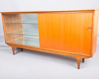 Vintage Danish 1960's Teak Mid Century Bookcase Cupboard Glazed