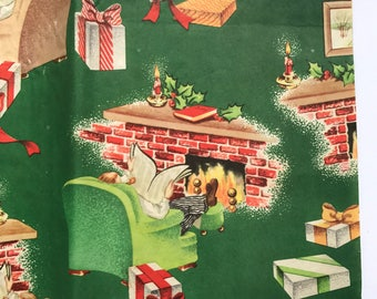 Sheet of 1950s Christmas Wrapping Paper