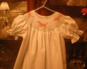 Smocked lab dogs dress, made to order