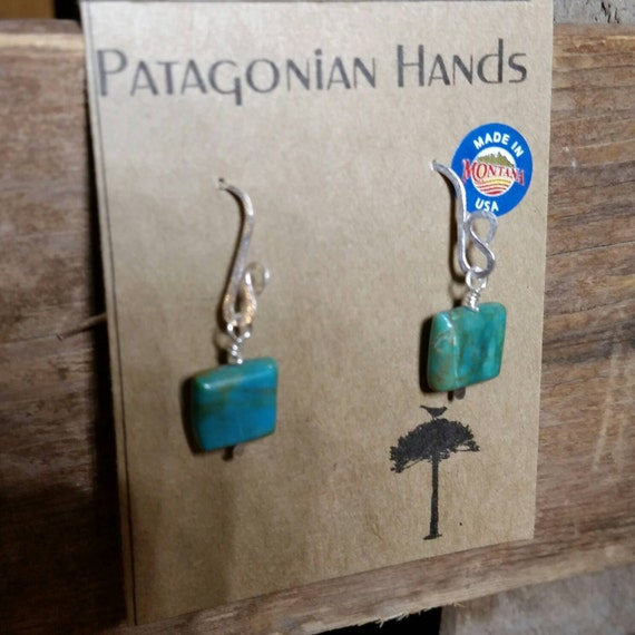 Fine Silver ( .999) earrings with Turquoise gemstones. FREE SHIPPING