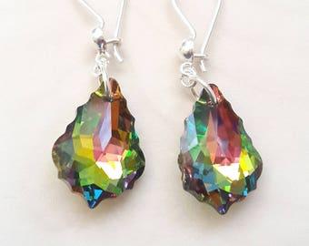 Swarovski Crystal Earrings, Silver Earrings, Sterling Silver Earrings, Swarovski Drop Earrings