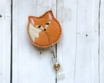 Cute Fox Nurse Badge Holder - Badge Reel Retractable ID Teacher