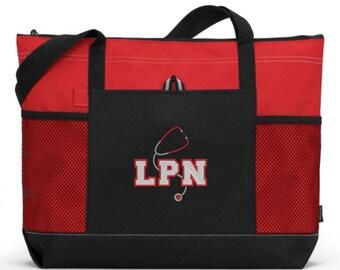 LPN Bag/ LPN Gift/ Embroidered LPN With Stethoscope Red Nurse Tote Bag/ lpn bag