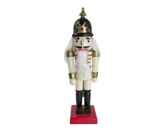 Hand-Painted Wooden Nutcracker General Figurine 10 inch Toy Soldier Christmas Decor Red White Black
