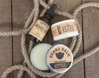 The Pirate Beard Kit - Bay Rum Scented Beard Care Kit, Bay Rum Beard Oil, Bay Rum Beard Shampoo, Bay Rum Beard Balm, Beard Grooming Kit