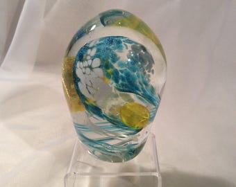 Blown Glass Egg Paperweight in Yellow, Aqua, With 23 K Gold Leaf.  Hand Blown Glass Paperweight.