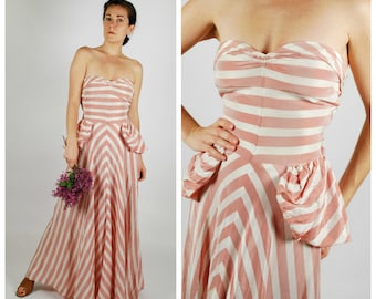 1940's Dress - 40's Striped Gown - Pink White Wedding Dress - Size XS