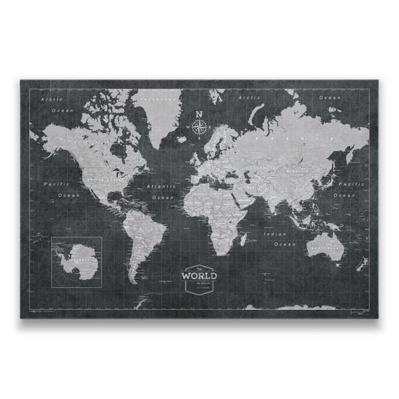 World travel pin board map modern push pin cork canvas best like this item gumiabroncs Image collections