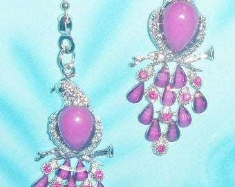 Set of Two ~ Beautiful Birds Purple Rhinestone Beaded Tail Body ~ Ceiling Fan Pulls