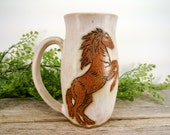 Rearing Horse Nature Mug 16oz - Speckled White - Wheel Thrown and Hand Carved Coffee Cup