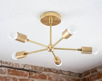 Brass Sputnik Chandelier: Modern Chandelier Gold Five 5 Arm Pinwheel Bulb Brass Sputnik Mid Century  Semi Flush Industrial Hanging Light UL Listed,Lighting