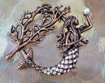 Mermaid Toggle Clasp, (T01C) Original Design: copper plated with rhinestones, Ocean lover must see!!
