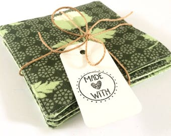 Coasters, green fabric coasters / mug rug, drink coasters, set of four