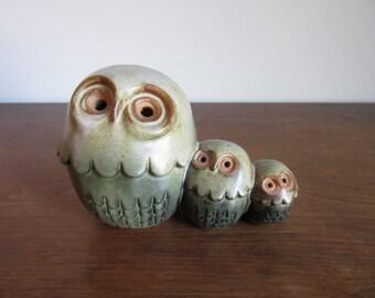 Triple Roly Poly Owls Figurine, Vintage Owl, Owlet, Babies, Three, Green,Ceramic Pottery Owl Figurines,Mod Retro Owls,Kitsch,Ceramic Owl Set