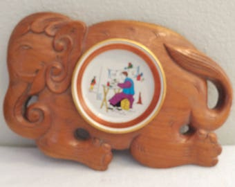 Vintage Wood Carved Elephant with Dipping Dish Made In Hong Kong -Rare to find!