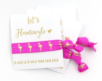 Flamingo Bachelorette Party Hair Tie Favors | Bachelorette Favors | Tropical Theme | Pink Flamingo | Bridesmaid Gift | Lets Flamingle | Ties