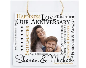 Anniversary Personalised Wooden Photo Plaque