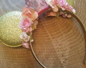Princess Minnie mouse gold ears. LARGE Minnie mouse ears with  crown. Pink birthday crown. Disney birthday headband
