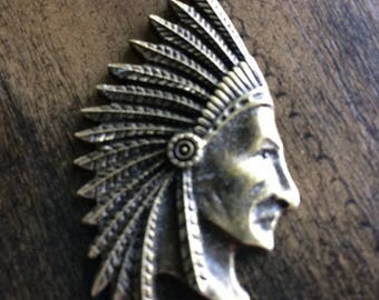 5 Pcs 30 x 55 mm Antinque Brass Big Chief Indian Head Charm / Pendant