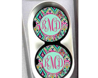 Personalized Car Coasters, Monogrammed Car Coasters, Personalized Gift, Sandstone Coasters, Cup Holder Coasters, Lilly Pulitzer Inspired