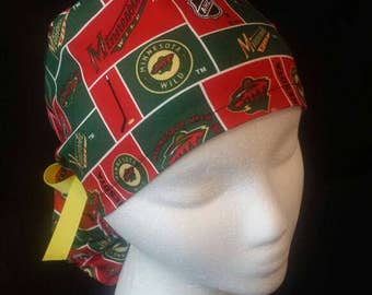 Minnesota Wild Hockey NHL Ponytail Surgical Scrub Hat Cap