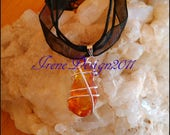 Silver Wrapped Amber Necklace by IreneDesign2011