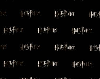 Harry Potter Fabric Logo Black From Camelot 100% Cotton