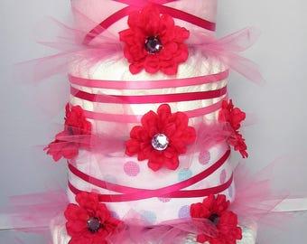 4-Tier Pretty in Pink Diaper Cake
