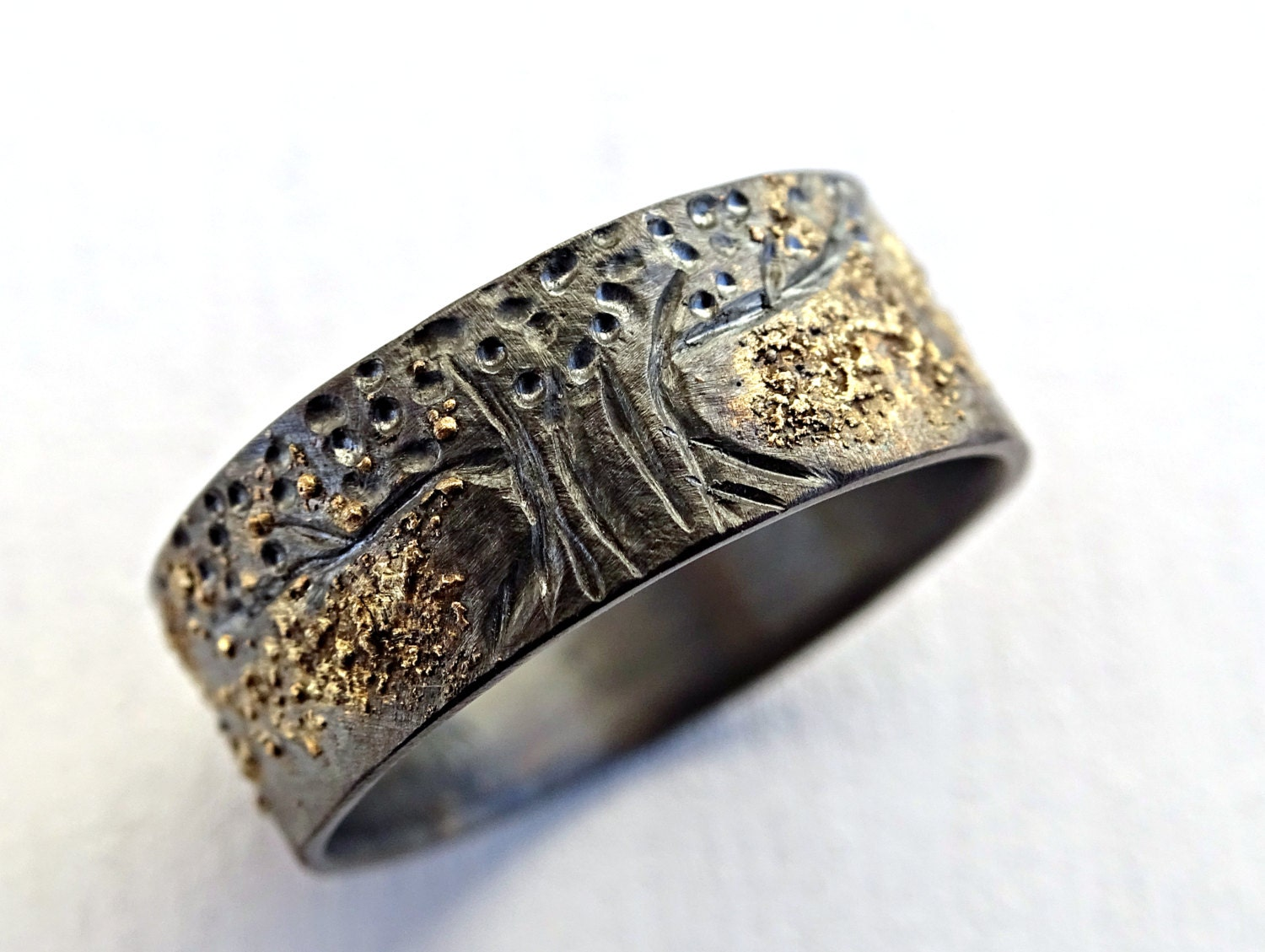 unique viking ring celtic wedding band tree of life ring black silver 14k gold - Gold And Silver Wedding Rings