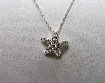 925 Sterling Silver CZ Starfish Necklace W #722
