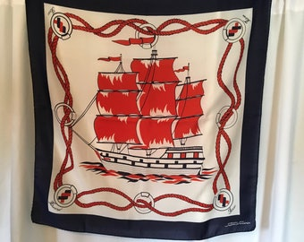 Vintage Fairsky Sitmar Cruises Nautical  Scarf Red, White and Blue Polyester 30 Inches