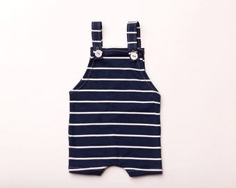 "Newborn Boy Romper and hat - ""Ethan"" navy blue and white romper with hat, newborn photo prop, blue and white stripes, newborn outfit,"