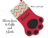 Personalized Christmas Paw Stocking in RED with Choice of Cuff