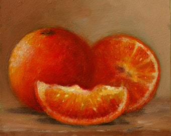 Oil On Panel - 'Oranges' Still Life Daily Painting Original Art