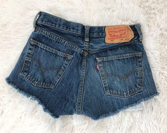 Vintage Denim Shorts \\ Levi Cutoffs \\ 90s Levi 501 \\ High Waisted \\ highwaisted denim shorts\\ wedgie fit jeans \\ Cheeky shorts 29 X 30