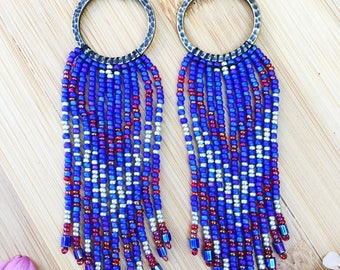 Seed Bead Earrings, Fringe Seed Bead Earrings, Long Fringe Seed Bead Earrings, Tassel  Earrings, Native American Inspired