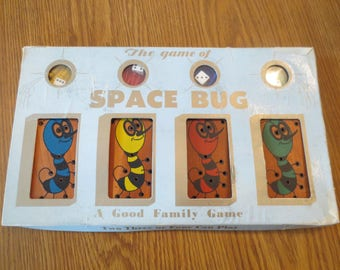 Vintage Childrens The Game Of Space Bug, Vintage Childrens Educational Peg Game, 1959 Drueke And Sons Game,