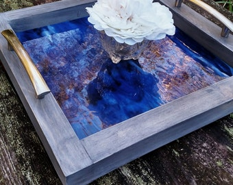 Serving Tray-Wood-Dark Blue Art Glass-Brushed Nickel Handles-Handmade-Grey Barnwood Finish-Ottoman Tray-Contemporary