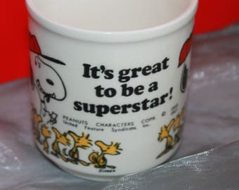 Snoopy 'It's Great To Be A Superstar' c1970's Ceramic Mug.