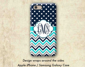 Polka Dots iPhone 7 case, Pretty iPhone 6 + case, Fashion iPhone 6s case, Women's iPhone 7 Plus case, Teal Chevron iPhone X Case