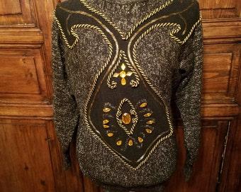 Vintage Erez Sweater, Women's Sweater, Metallic Gold, Beaded, Rhinestones, Black, Glitter, 80s Fashion, Kitsch, Hipster