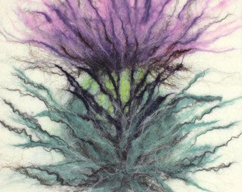 "Felt art by Scottish artist, Kerry Souter, felt wall art, fibre art, felt picture, deep edged canvas, 30 x 40cm, 12"" x 16""(approx)."