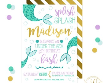Mermaid Invitation | Mermaid Party | Pool Party | Swimming Party | Swimming Invitation | Pool Invitation | Summer Printable Invitation