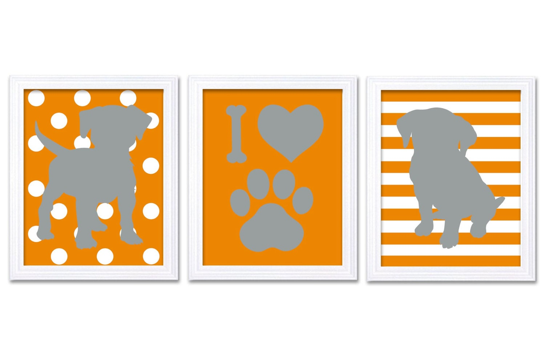 Puppy Dog Nursery Art Puppy Prints Set of 3 Prints Orange Coral Grey Stripes Chevron Polka Dots Baby