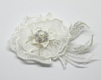 Lace flower hair clip Ivory flower for hair Hair accessories Bridal hair