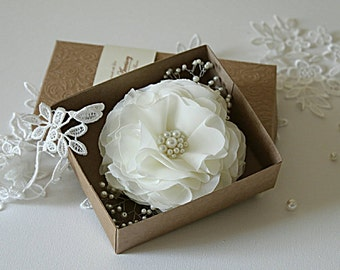 Pearl Flower Comb - Pearl Hair Comb - Bridal Ivory Chiffon Pearl Flower Hair Comb - Bridal Hair Comb w. Spray - Wedding Hair Piece